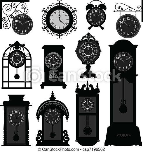 antiquité, vendange, horloge, vieux temps - csp7196562