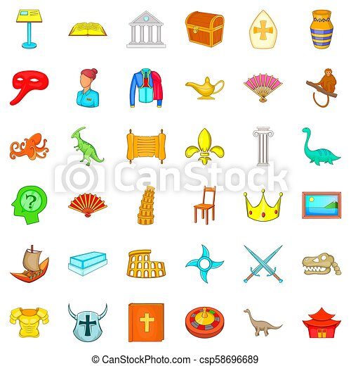 Antiquity study icons set, cartoon style - csp58696689