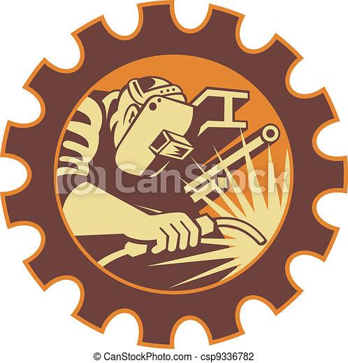 Trabajador soldador soldando soplete retro - csp9336782
