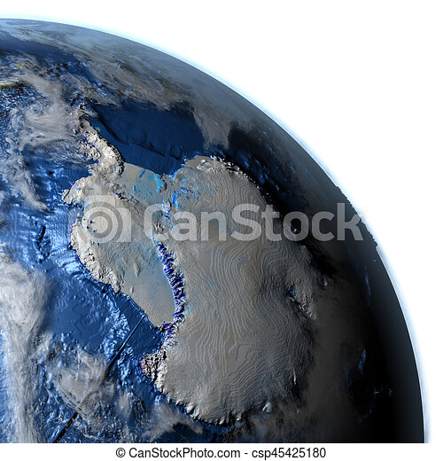 Antractic On Earth Visible Ocean Floor Antractic On 3d Model Of