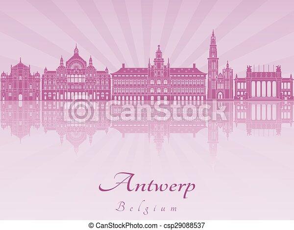 Antwerp skyline in purple radiant orchid - csp29088537
