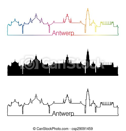 Antwerp skyline linear style with rainbow.eps - csp29091459