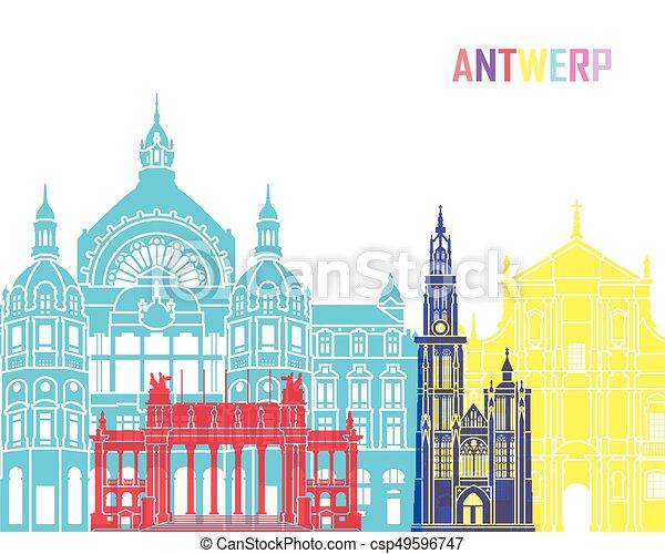 Antwerp skyline pop - csp49596747