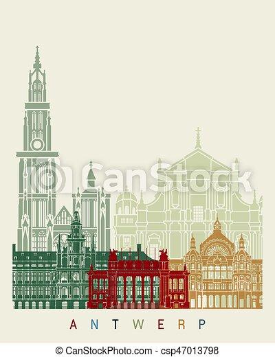 Antwerp skyline poster - csp47013798