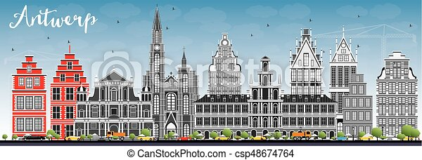 Antwerp Skyline with Gray Buildings and Blue Sky. - csp48674764