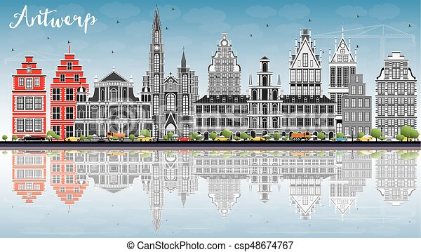 Antwerp Skyline with Gray Buildings, Blue Sky and Reflections. - csp48674767