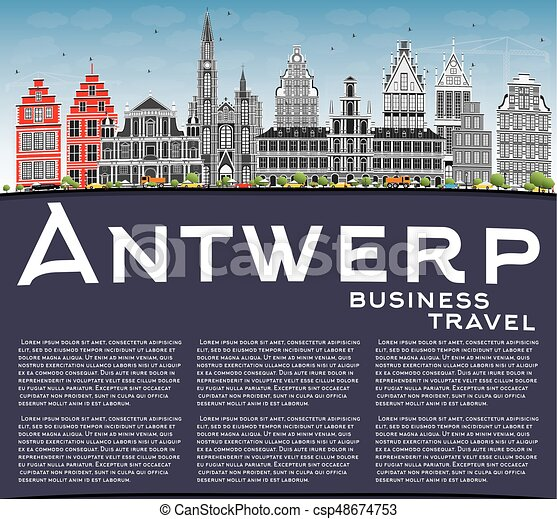 Antwerp Skyline with Gray Buildings, Blue Sky and Copy Space. - csp48674753