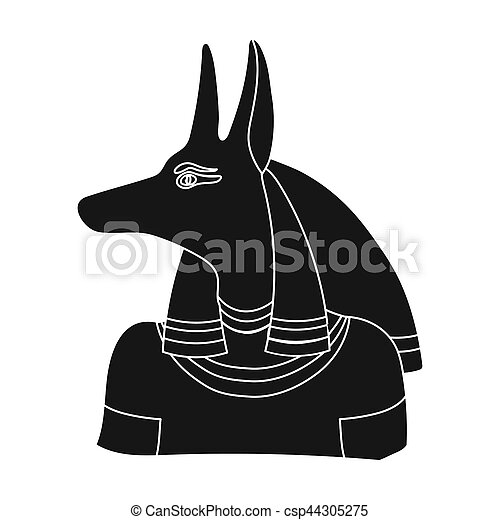 Anubis icon in black style isolated on white background  Ancient Egypt  symbol stock bitmap,raster illustration
