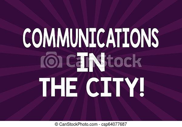 Una nota que muestra comunicaciones en la ciudad. Fotos de negocios que muestran tecnologías de red digital alrededor de las ciudades con medio tono de explosión de rayos de sol para el cartel de anuncio. - csp64077687