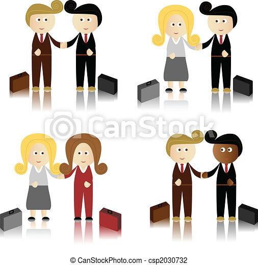 Hombres de negocios anuncian mujeres de negocios - csp2030732