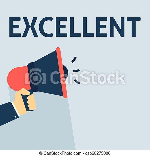 Mano sosteniendo megáfono con un anuncio excelente - csp60275006