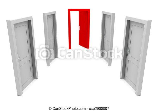 använda, dörr, röd - csp2900007