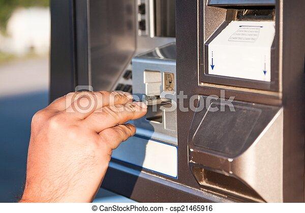 använda, lön, gas, kreditera, pump, kort - csp21465916