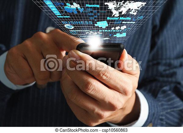 använda, nätverk, affärsverksamhet telefonera, mobil, virtuell, hand, diagram, strömma, bearbeta, man - csp10560863