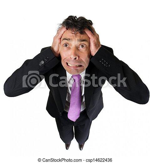 Anxious businessman tearing at his hair - csp14622436