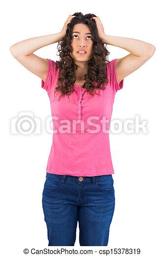 Anxious cute brunette posing - csp15378319