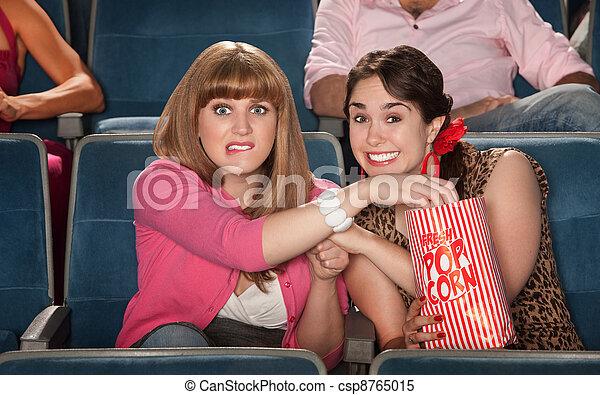 Anxious Women With Popcorn - csp8765015