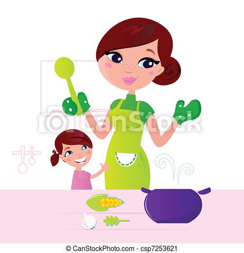 anya, élelmiszer, gyermek, egészséges, főzés, konyha - csp7253621