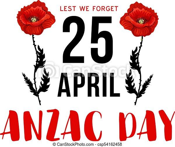 Anzac day 25 april memorial card with red poppy flower australian anzac day 25 april memorial card with red poppy csp54162458 mightylinksfo