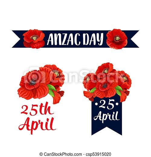 Anzac Day 25 April Red Poppy Vector Icons Anzac Day Red Poppy Icons
