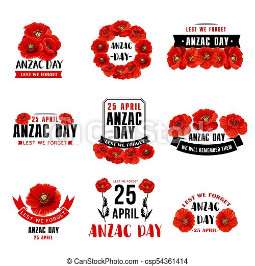 Anzac Day 25 April Red Poppy Vector Icons Anzac Day 25 April