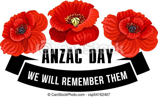 Anzac Day icon of poppy flower with black ribbon - csp54162467
