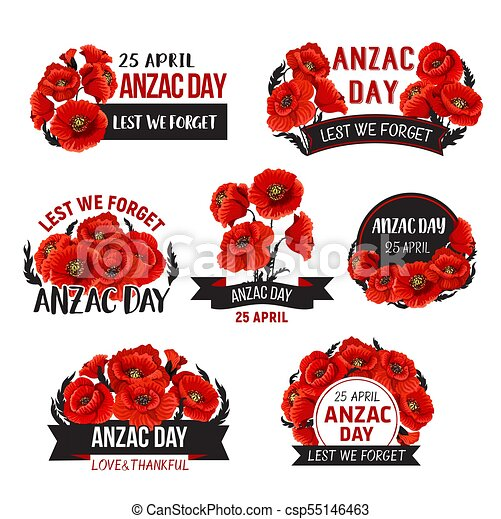 Anzac Day Lest We Forget Poppy Vector Ribbons Icons Anzac Day Icons