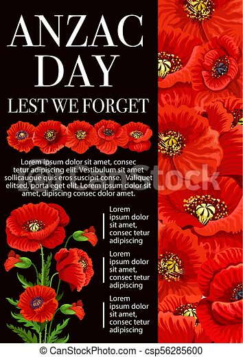 Anzac day poppy flower for lest we forget banner anzac day lest we anzac day poppy flower for lest we forget banner csp56285600 mightylinksfo