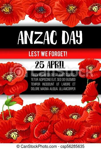 Anzac day poppy flower memorial banner design anzac day vectors anzac day poppy flower memorial banner design csp56285635 mightylinksfo