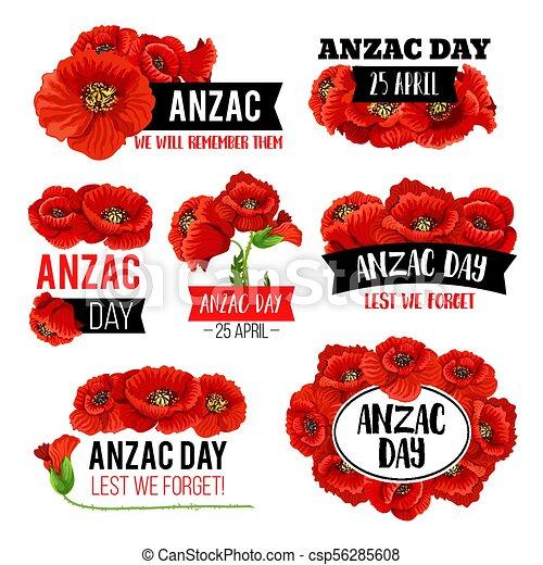 Anzac day poppy flower memorial card design anzac day poppy flower anzac day poppy flower memorial card design csp56285608 mightylinksfo