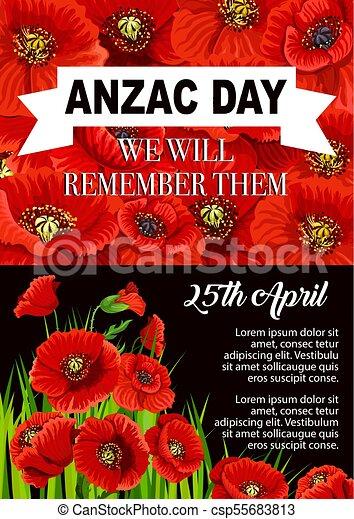 Anzac Day Poppy Flower Memorial Poster Design Anzac Day Poppy