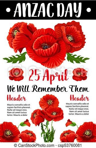 Anzac day red poppy vector war memorial card anzac day 25 april anzac day red poppy vector war memorial card mightylinksfo