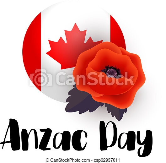 Anzac Day Vector Poster Remembrance Day Tag With A Flag Of Canada