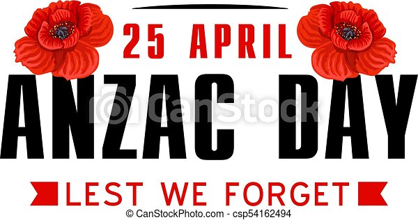 Anzac poppy flower icon for World War memorial day - csp54162494