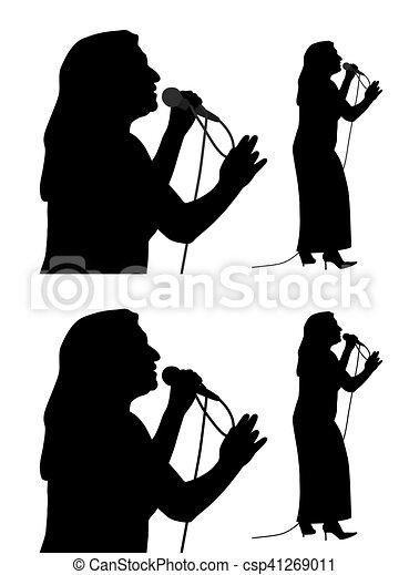 anziano, cantante, femmina - csp41269011