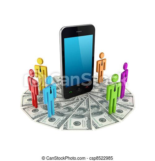 ao redor, coloridos, pessoas, móvel, telefone., pequeno, 3d - csp8522985