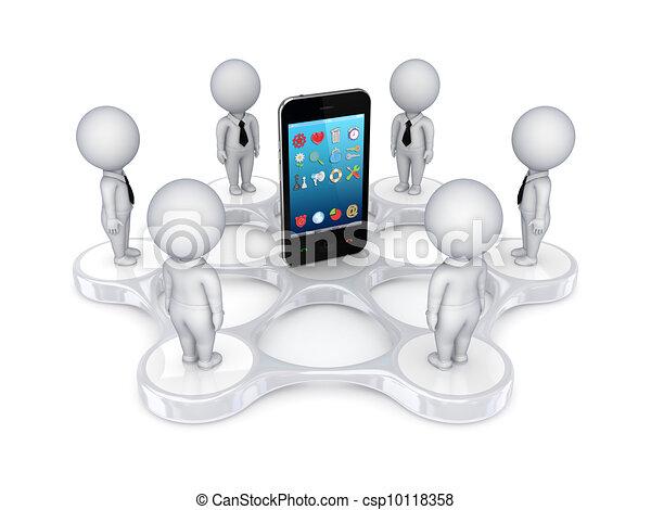 ao redor, pessoas, móvel, telefone., pequeno, 3d - csp10118358