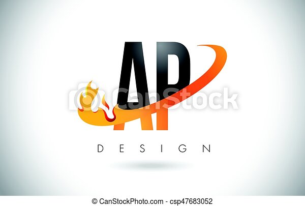 Ap a p letter logo with fire flames design and orange swoosh ap a p ap a p letter logo with fire flames design and orange swoosh csp47683052 altavistaventures Image collections