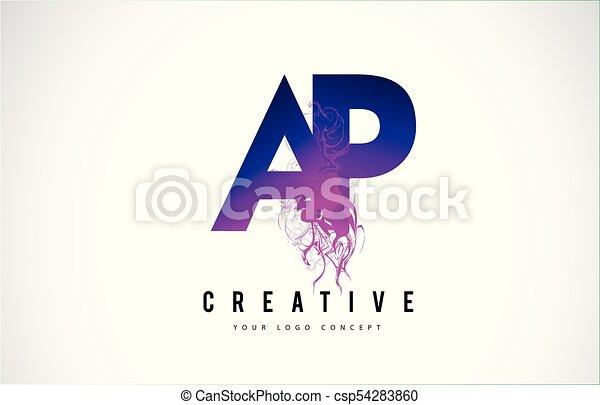 Line Art Effect Photo : Ap a p purple letter logo design with liquid effect flowing . clip