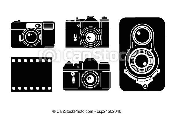 aparat fotograficzny, wektor, ilustracja - csp24502048