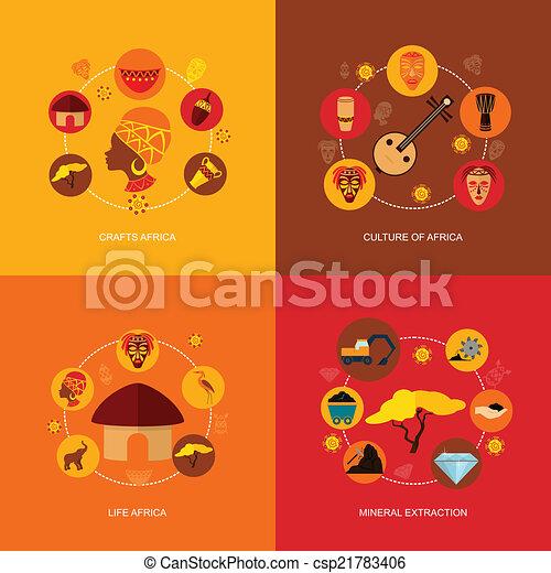 apartamento, áfrica, composição, ícones - csp21783406