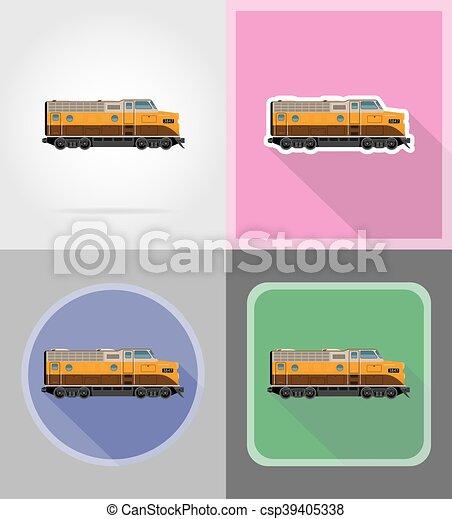 apartamento, ícones, trem, ilustração, vetorial, estrada ferro, locomotiva - csp39405338