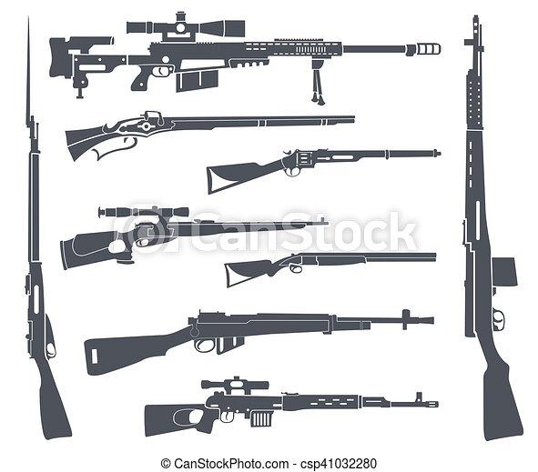 Apartamento Arma Set Carbine Desenho Rifle Arma De Fogo
