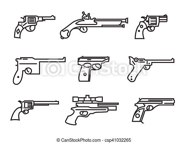 Apartamento Armas Esboco Pistolas Set Revolvers Versao
