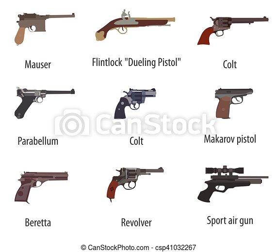 Apartamento Armas Pistolas Set Revolvers Desenho Arma De