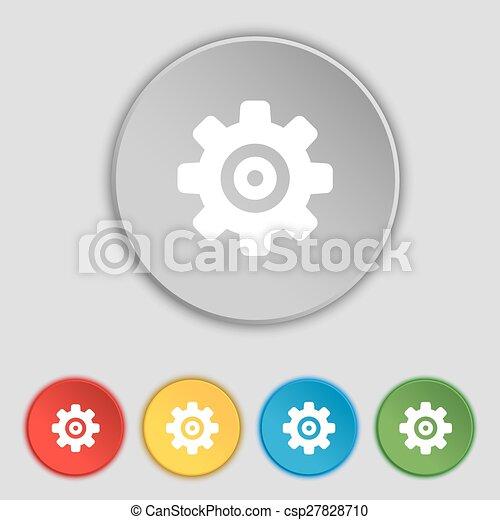 apartamento, buttons., sinal., engrenagem, ajustes, cogwheel, mecanismo, vetorial, cinco, dente, símbolo, ícone - csp27828710