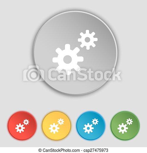 apartamento, buttons., sinal., engrenagem, ajustes, cogwheel, mecanismo, vetorial, cinco, dente, símbolo, ícone - csp27475973