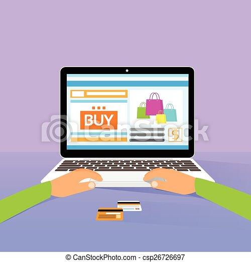 apartamento, compra, shopping, laptop, desenho, mãos, linha, tipo - csp26726697