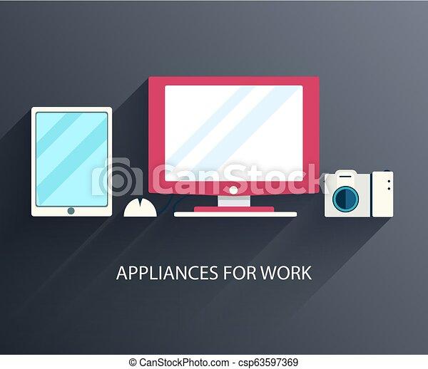 apartamento, computador, concept., ilustração, vetorial, local trabalho, fundo, design. - csp63597369