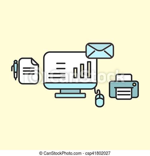 apartamento, computador, negócio, concept., ilustração, vetorial, local trabalho, ícone, design. - csp41802027